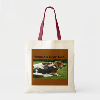 Father's Day Basset Hounds World's Best Dad Budget Tote Bag