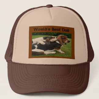 Father's Day Basset Hounds World's Best Dad Trucker Hat