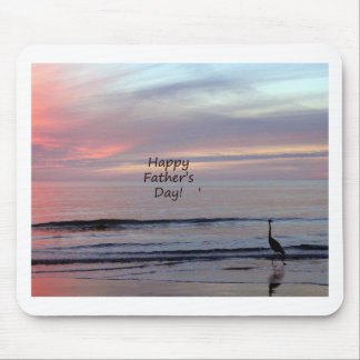 Father's Day Beach Heron Mouse Pad