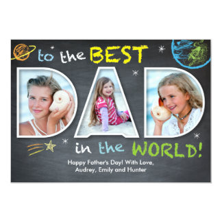 Father's Day Best Dad in the World 13 Cm X 18 Cm Invitation Card