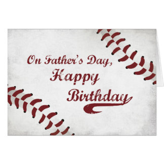 Father's Day Birthday Large Grunge Baseball, Sport Greeting Card