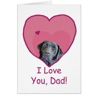 Father's Day Black Lab in Heart Loves Dad Card