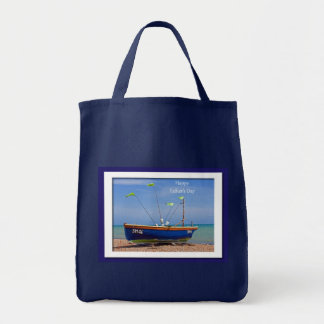 Father's Day Blue Boat Grocery Tote Bag