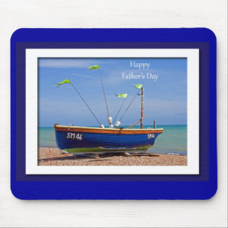 Father's Day Blue Boat Mouse Mat