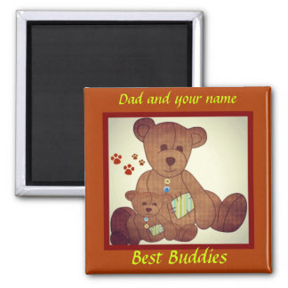 Father's Day Brown Bear Family Best Buddies Fridge Magnets