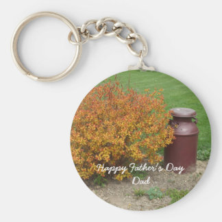 Father's Day Bush and Milk Container Basic Round Button Key Ring