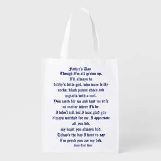 Fathers Day by Martha Valencia view about Design Reusable Grocery Bag