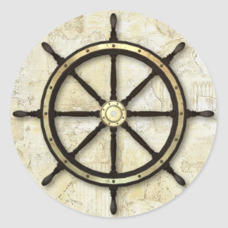 Fathers Day - Captains Wheel Round Sticker