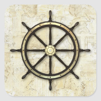 Fathers Day - Captains Wheel Square Sticker