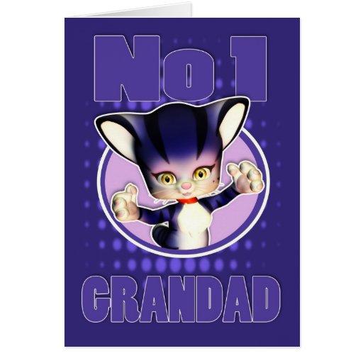 Father's Day Card - Cute Cat - No1 Grandad