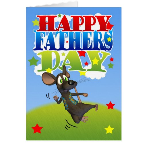 Father's Day Card cute mouse cheering