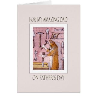 Father's Day card, Dad, Corgi dog in his workshop Card