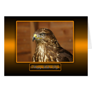 father's day card with common buzzard bird of prey