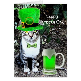 FATHER'S DAY CAT  WITH GREEN IRISH BEER GREETING CARD