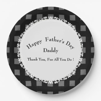 Father's-Day-Celebrations-Modern-Template-Blk-Gray 9 Inch Paper Plate
