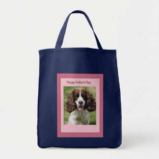Father's Day Cocker Spaniel Dog Grocery Tote Bag