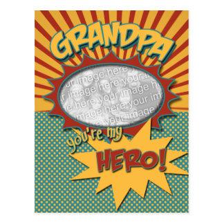 Father's Day Comic Book Hero Grandpa Post Cards