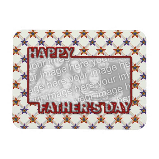 Fathers Day Cut Out ADD YOUR PHOTO Field of Stars Vinyl Magnets