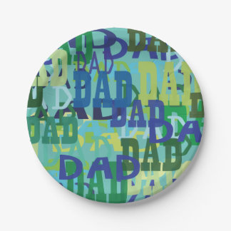 Father's Day Dad Paper Plates 7 Inch Paper Plate