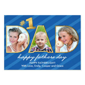 Fathers Day DAD Photos with Blue Stripes 13 Cm X 18 Cm Invitation Card