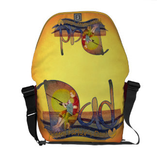 Father's day dad & son fishing art messenger bags