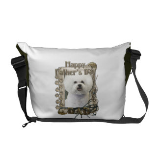 Fathers Day DAD - Stone Paws - Bichon Frise Messenger Bags