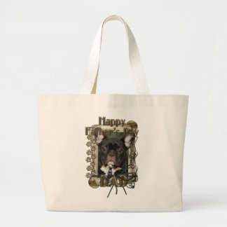 Fathers Day DAD Stone Paws - French Bulldog - Teal Jumbo Tote Bag