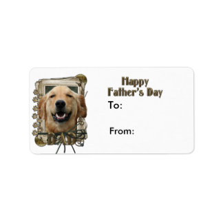 Fathers Day DAD Stone Paws Golden Retriever Mickey Address Label