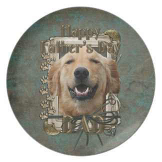 Fathers Day DAD Stone Paws Golden Retriever Mickey Plate