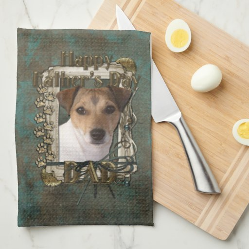 Fathers Day DAD - Stone Paws - Jack Russell Kitchen Towel