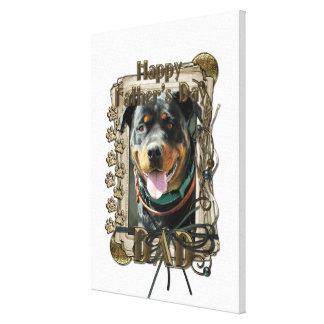 Fathers Day DAD - Stone Paws Rottweiler SambaParTi Gallery Wrap Canvas