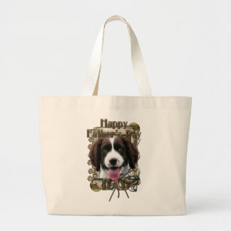 Fathers Day DAD - Stone Paws - Springer - Baxter Jumbo Tote Bag