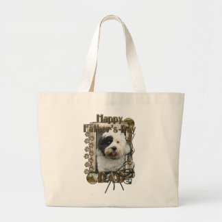 Fathers Day DAD - Stone Paws - Tibetan Terrier Jumbo Tote Bag