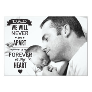 Father's Day Flat Photo Card - Vintage Typography 13 Cm X 18 Cm Invitation Card