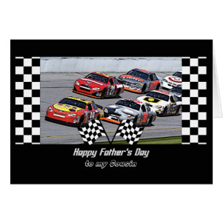 Father's Day for Cousin, Stock Car Racing, Checks Greeting Card