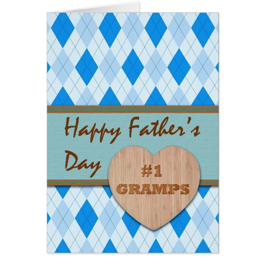 Father's Day for Gramps, Wood Heart, Argyle Design