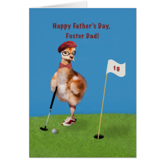 Father's Day, Foster DadHumorous Bird Playing Golf Greeting Card