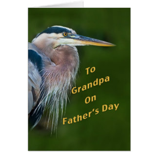 Father's Day, Grandpa, Great Blue Heron Bird Greeting Cards