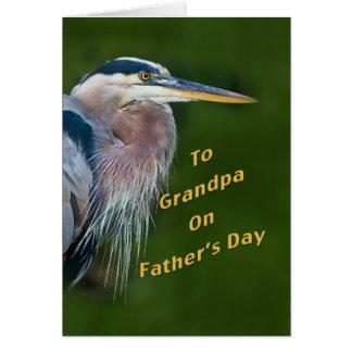 Father's Day, Grandpa, Great Blue Heron Bird Greeting Card
