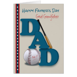 Father's Day Great Grandfather Baseball No.1 Dad Greeting Card
