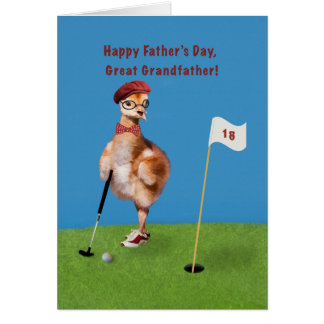 Father's Day, Great Grandfather, Bird Playing Golf Card