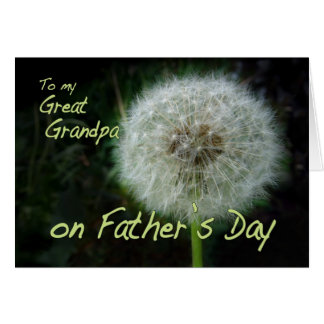 Father's Day Great Grandpa dandelion wish for Greeting Card
