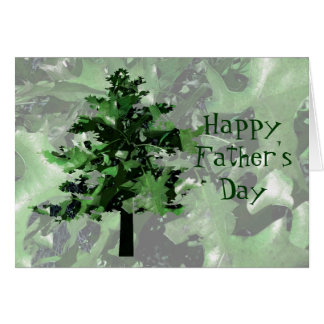 Father's Day Green Tree Silhouette Greeting Card