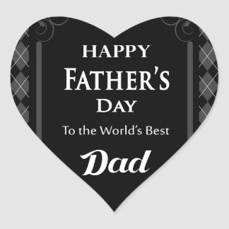 """Father's Day - """"Happy Father's Day"""" Black/Grey Heart Sticker"""