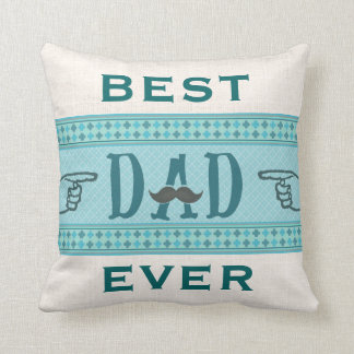 Fathers Day Hipster Dad Vintage Mustache Pillow