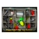 Father's Day - Husband - Fishing Tackle Box - Top Greeting Card