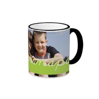 Fathers Day Love Grandpa Photo Green Text Design Coffee Mug