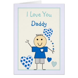 Father's Day Love you Daddy from little boy Card