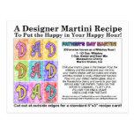 Father's Day Martini Recipe Card Postcard