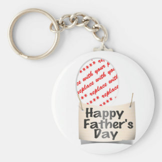 Father's Day Memento Frame Basic Round Button Key Ring
